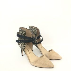 Sole Society 8.5 Pointed Toe Ankle Wrapped Heels